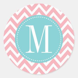 Monograma azul claro y rosado del personalizado de pegatina redonda