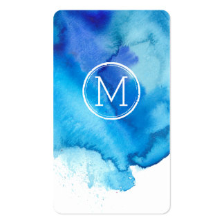 Monograma azul con playas de la acuarela del tarjetas de visita