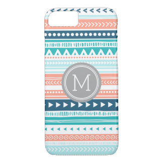 Monograma azul coralino del modelo tribal de las funda iPhone 7