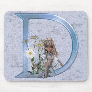 Monograma azul de hadas D Tapetes De Ratones