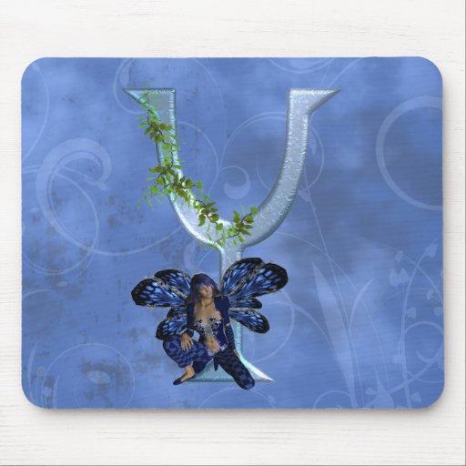 Monograma azul de hadas Y Alfombrillas De Raton