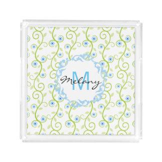 Monograma azul de la impresión floral bandeja cuadrada