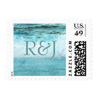 Monograma azul de la playa de las olas oceánicas timbres postales