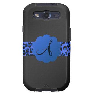 Monograma azul de la raya del leopardo galaxy SIII protector