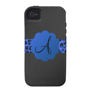 Monograma azul de la raya del leopardo iPhone 4/4S carcasa