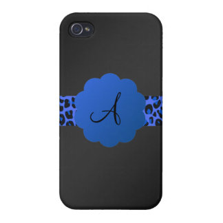 Monograma azul de la raya del leopardo iPhone 4 funda