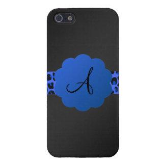 Monograma azul de la raya del leopardo iPhone 5 coberturas