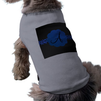 Monograma azul de la raya del leopardo camiseta de perro