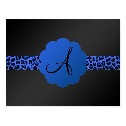 Monograma azul de la raya del leopardo postal