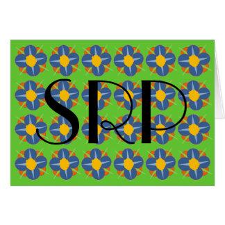 Monograma azul de los medallones de la flor tarjeta de felicitación