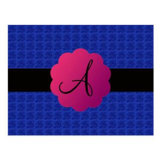 Monograma azul de los rosas tarjeta postal