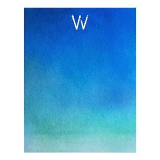 Monograma azul de Ombre de la acuarela Membretes Personalizados