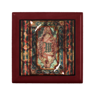 Monograma azul de rubíes del vintage elegante joyero cuadrado pequeño