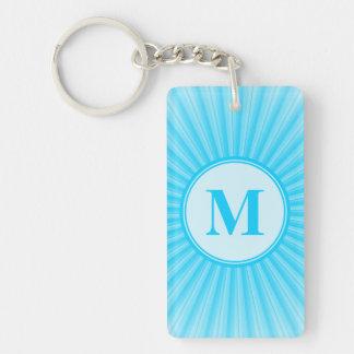 Monograma azul de Sun Llavero Rectangular Acrílico A Doble Cara