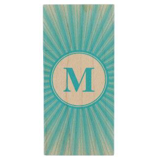 Monograma azul de Sun Memoria USB 2.0 De Madera