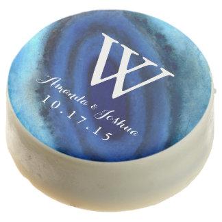 Monograma azul del boda de la ágata