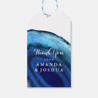 Monograma azul del boda de la ágata etiquetas para regalos