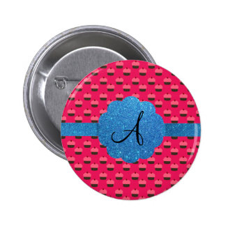 Monograma azul del brillo de la magdalena rosada pin