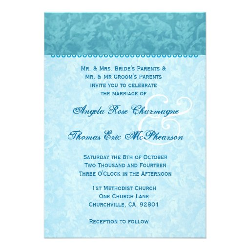 Monograma azul del damasco de la aguamarina que ca invitación personalizada