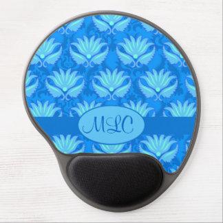 Monograma azul del damasco de Nouveau del arte de Alfombrillas De Raton Con Gel