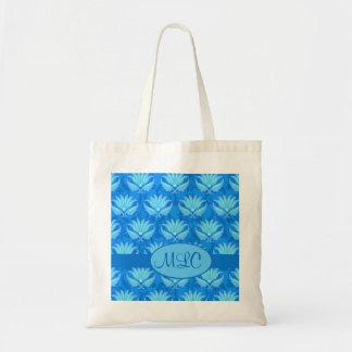Monograma azul del damasco de Nouveau del arte de  Bolsas Lienzo