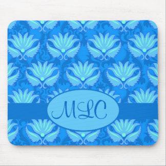 Monograma azul del damasco de Nouveau del arte de  Tapete De Ratones
