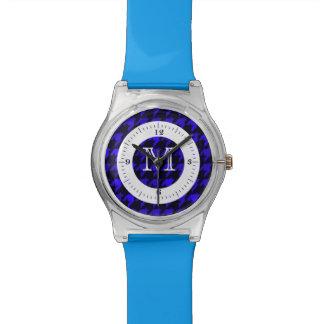 Monograma azul del deslumbramiento relojes de pulsera