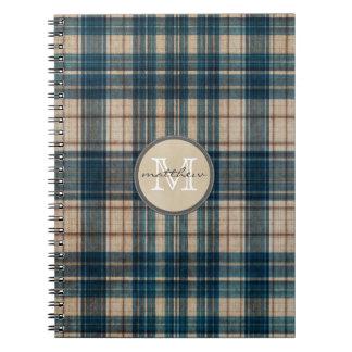 Monograma azul del fondo de la franela cuaderno