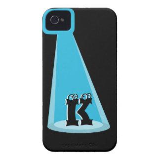 Monograma azul del haz luminoso iPhone 4 Case-Mate cárcasa