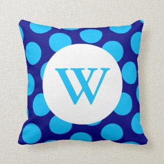 Monograma azul del lunar almohada