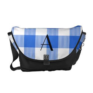 Monograma azul del modelo de la guinga bolsa de mensajeria