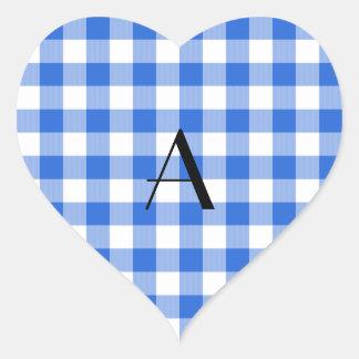 Monograma azul del modelo de la guinga pegatina corazón