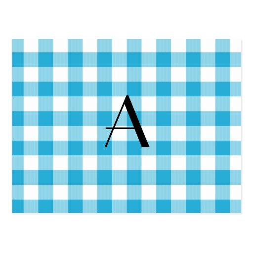 Monograma azul del modelo de la guinga postal