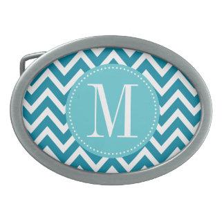 Monograma azul del personalizado de Chevron Hebillas Cinturon Ovales