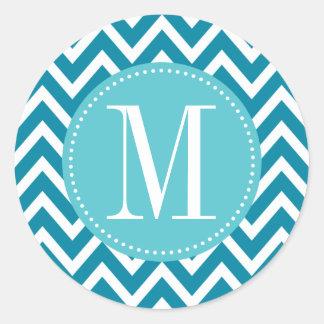 Monograma azul del personalizado de Chevron Pegatina Redonda