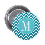 Monograma azul del personalizado de Chevron Pins