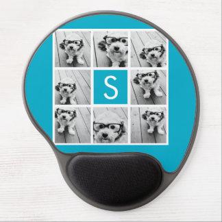 Monograma azul del personalizado del collage de la alfombrillas con gel