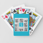 Monograma azul del personalizado del collage de la baraja cartas de poker