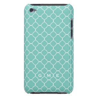 Monograma azul del trullo 3 del modelo del trébol  iPod Case-Mate funda