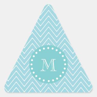 Monograma azul del trullo del modelo el | de calcomanías triangulos personalizadas