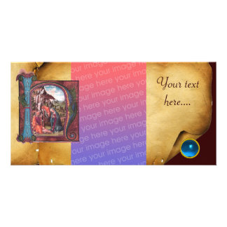 Monograma azul del zafiro del PERGAMINO de la NATI Tarjeta Fotografica Personalizada