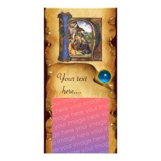 Monograma azul del zafiro del PERGAMINO de la Tarjeta Fotografica Personalizada