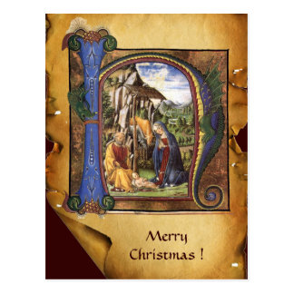 Monograma azul del zafiro del PERGAMINO de Navidad Tarjeta Postal