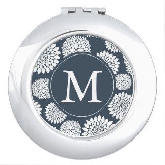 Monograma azul elegante de las flores blancas espejos compactos