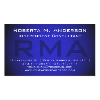 Monograma azul elegante del consultor independient tarjetas personales