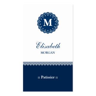 Monograma azul elegante del cordón de Patissier Plantilla De Tarjeta De Negocio