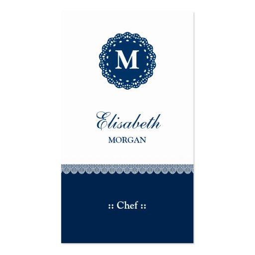 Monograma azul elegante del cordón del cocinero tarjeta personal