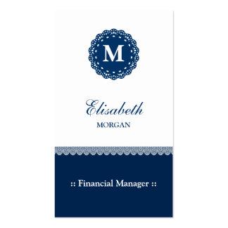 Monograma azul elegante del cordón del encargado tarjetas de visita