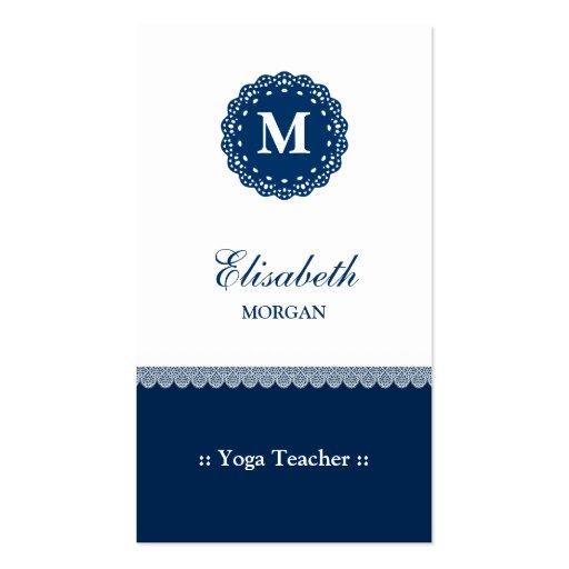 Monograma azul elegante del cordón del profesor de tarjetas de visita