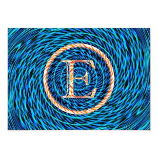 Monograma azul espiral de marea E Anuncios Personalizados